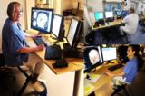 Radfahren hinter dem Schreibtisch im Krankenhaus in Schweden