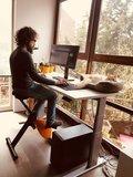 Fahren Sie mit Ihrer Katze auf Ihrem Schreibtisch