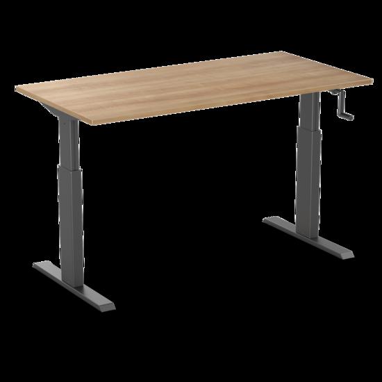 Sitz-Steh-Schreibtisch - AluForce 140 - Handkurbel