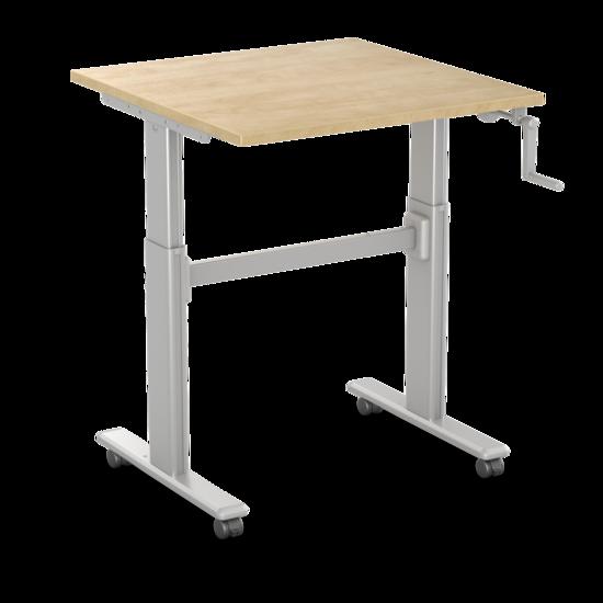 Kleiner Sitz-Steh-Schreibtisch - SteelForce 100 - Handkurbel und Rollen